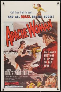 6r040 APACHE WOMAN int'l 1sh 1955 art of naked cowgirl in water pointing gun at Lloyd Bridges!