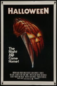 6r001 HALLOWEEN 1sh 1978 John Carpenter classic, great Bob Gleason art with green ratings box!