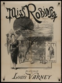 7r845 MISS ROBINSON 24x32 French stage poster 1892 art of scenes from the operetta by P. Maurou!