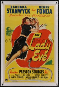 8m368 LADY EVE linen 1sh 1941 Preston Sturges, great Biblical art of Barbara Stanwyck & Henry Fonda!