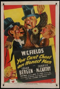 8m494 YOU CAN'T CHEAT AN HONEST MAN linen 1sh 1939 Kapralik art of Fields, Bergen & McCarthy, rare!