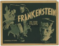 8r001 FRANKENSTEIN TC R1938 different image of Boris Karloff as the monster full-length & close up!