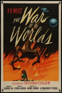 8r093 WAR OF THE WORLDS 1sh 1953 H.G. Wells & George Pal classic, wonderful alien hand art!
