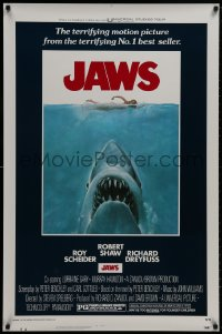 8s131 JAWS 1sh 1975 Kastel art of Steven Spielberg's classic man-eating shark attacking swimmer!