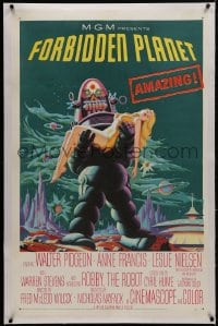 1m089 FORBIDDEN PLANET linen 1sh 1956 classic art of Robby the Robot carrying sexy Anne Francis!