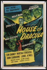 1m100 HOUSE OF DRACULA linen 1sh 1945 Wolfman Lon Chaney Jr., Glenn Strange as Frankenstein, rare!