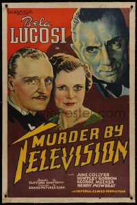 1m113 MURDER BY TELEVISION linen 1sh 1935 art of Bela Lugosi looming over Gordon & Collyer, rare!