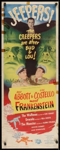1p083 ABBOTT & COSTELLO MEET FRANKENSTEIN insert 1948 plus Wolfman & Dracula are after Bud & Lou!