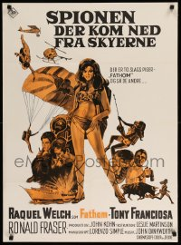 1t012 FATHOM Danish 1969 different art of sexy Raquel Welch in skydiving harness & action scenes!