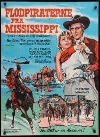 1t013 PIRATES OF THE MISSISSIPPI Danish 1964 Brad Harris, Frank, cowboy western art by K. Wenzel!