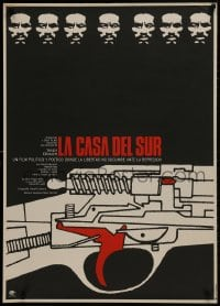 1t026 LA CASA DEL SUR Mexican poster 1975 The House in the South, wild gun art and serious man!