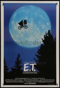 2h102 E.T. THE EXTRA TERRESTRIAL linen 1sh 1982 Spielberg classic, iconic bike over moon image!