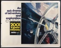 2h005 2001: A SPACE ODYSSEY linen Cinerama subway poster 1968 Kubrick, Bob McCall space wheel art!