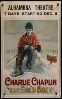 2m127 GOLD RUSH WC 1925 great art of Charlie Chaplin freezing in the snow by his claim, ultra rare!