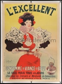4j236 L'EXCELLENT linen 35x49 French advertising poster 1895 Georges Meunier art of woman w/ soup!