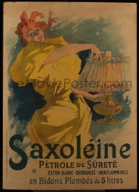5c145 SAXOLEINE 35x49 French advertising poster 1895 art of woman lighting lamp by Jules Cheret!