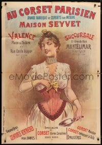 6k485 AU CORSET PARISIEN 33x47 French advertising poster 1890s female garment, stone litho art!