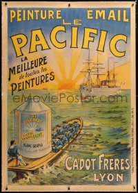 6t188 LE PACIFIC linen 39x55 French advertising poster 1890s art of rowboat transporting paint!