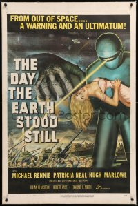 8x073 DAY THE EARTH STOOD STILL linen 1sh 1951 classic sci-fi art of Gort with Patricia Neal, rare!