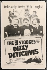 1z077 DIZZY DETECTIVES linen 1sh 1943 Three Stooges with Moe, Larry & Curly Howard, ultra rare!