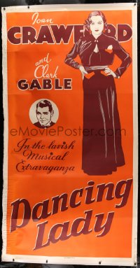 2a031 DANCING LADY linen Leader Press 3sh 1933 different art of Joan Crawford & Clark Gable, rare!