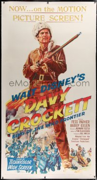2a032 DAVY CROCKETT KING OF THE WILD FRONTIER linen 3sh 1955 Disney, full-length art of Fess Parker!