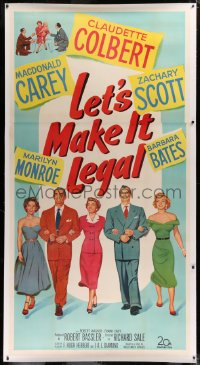 2a035 LET'S MAKE IT LEGAL linen 3sh 1951 sexy Marilyn Monroe, Claudette Colbert & cast, ultra rare!
