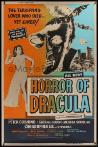 2a013 HORROR OF DRACULA 40x60 1958 Hammer, vampire monster & sexy girl art by Joseph Smith, rare!