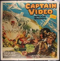 2a022 CAPTAIN VIDEO: MASTER OF THE STRATOSPHERE linen 6sh 1951 Holdren as early super hero, rare!
