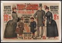 2a137 A LA TOUR ST. JACQUES linen 39x59 French advertising poster 1885 clothing for adults & kids!
