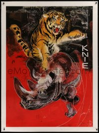 2a117 KNIE linen 36x50 Swiss circus poster 1972 cool art of circus tiger over rhinocerous!