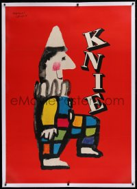 2a116 KNIE linen 36x50 Swiss circus poster 1956 colorful art of clown balancing title on knee, rare!