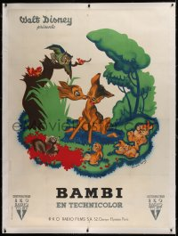 2a078 BAMBI linen French 1p 1947 Disney cartoon classic, wonderful different art by Bernard Lancy!
