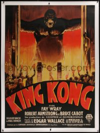 2a088 KING KONG linen French 1p 1933 wonderful Roland Coudon art of ape & sacrifice, ultra rare!