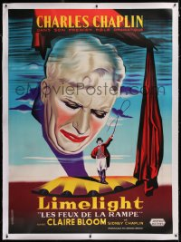 2a090 LIMELIGHT linen French 1p R1960s different close up art of crying Charlie Chaplin + on stage!