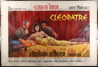 2a073 CLEOPATRA linen French 2p 1963 Terpning art of Elizabeth Taylor, Richard Burton & Harrison!