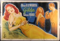 2a074 GILDA linen French 2p 1947 Grinsson art of Rita Hayworth full-length & being slapped, rare!