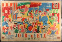 2a076 JOUR DE FETE linen French 2p 1948 1st Jacques Tati feature, colorful Jacquelin art, ultra rare!
