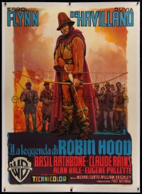2a056 ADVENTURES OF ROBIN HOOD linen Italian 1p R1953 different Martinati art of Errol Flynn, rare!