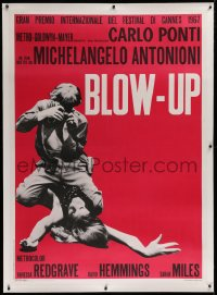 2a057 BLOW-UP linen Italian 1p R1970s Michelangelo Antonioni, David Hemmings straddles sexy model Verushka!