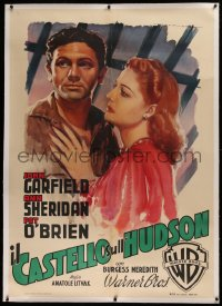 2a058 CASTLE ON THE HUDSON linen Italian 1p 1949 Martinati art of Ann Sheridan & Garfield, rare!