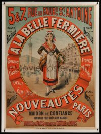 2a136 A LA BELLE FERMIERE linen 37x51 French advertising poster 1880s art of woman carrying basket!