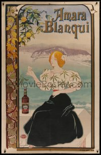 2a138 AMARA BLANQUI linen 35x54 French advertising poster 1898 Guydo art of woman enjoying a drink!