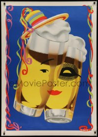 2a019 CARNIVAL SEASON POSTER 33x47 German special poster 1950s Abeking art, faces on 2 beer glasses!