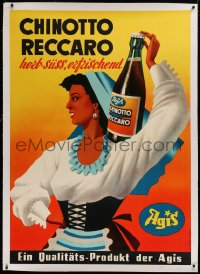 2a119 CHINOTTO RECCARO linen 36x50 Swiss advertising poster 1950s art of pretty lady & orange drink!