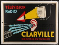 2a139 CLARVILLE linen 47x62 French advertising poster 1950s great R.B. Sibia art of TV & radio!