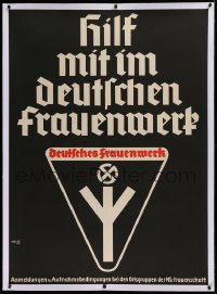 2a113 DEUTSCHES FRAUENWERK linen 34x47 German special poster 1930s Nazi Women's League, w/swastika!