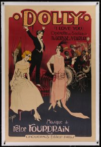 2a125 DOLLY linen 32x47 French stage poster 1922 Clerice Freres art of band entertaining nightclub!