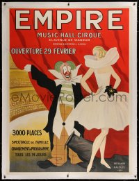 2a126 EMPIRE linen 47x63 French stage poster 1924 Edouard Halouze art of clown & female dancer!