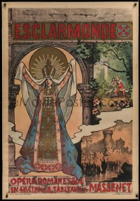 2a127 ESCLARMONDE linen 33x47 French stage poster 1890s Choubrac art of Byzantium empress & sorceress!